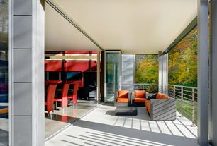 Contemporary Porch with Deck Railing, Screened porch, French doors