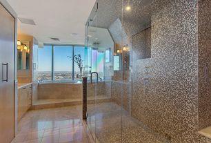 Modern Master Bathroom with Flush, Stone Tile, frameless showerdoor, European Cabinets, Rain shower, Limestone counters