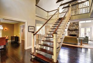 Traditional Staircase with Floating staircase, Balcony, Hardwood floors, Exposed beam