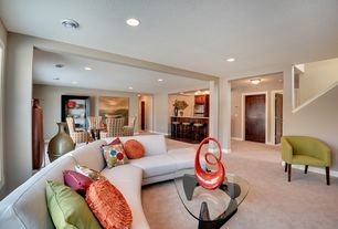 Contemporary Living Room with Columns, Carpet, Standard height, can lights