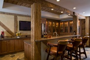 Rustic Bar with can lights, Built-in bookshelf, Standard height, complex marble floors