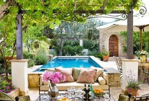 Mediterranean Patio with Fence, exterior tile floors
