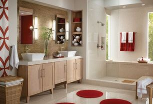 Modern Master Bathroom with Pental Taj Maha Quartz, Vessel sink, Ceramic Tile, full backsplash, Paint 1, Flat panel cabinets