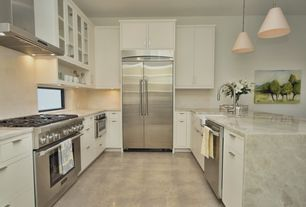 Traditional Kitchen with European Cabinets, Pendant light, Flush, Glass panel, Silestone - lagoon, Complex marble counters