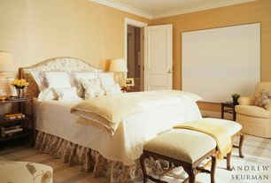 Traditional Master Bedroom with Carpet, Standard height, Paint, Crown molding, can lights, specialty door