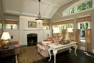 Traditional Living Room with Fireplace, picture window, double-hung window, insert fireplace, Box ceiling, High ceiling