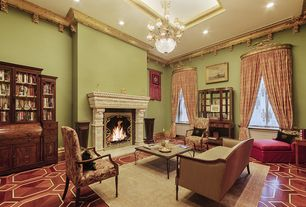 Traditional Living Room with Crown molding, High ceiling, Chandelier, Cement fireplace, Built-in bookshelf, Hardwood floors