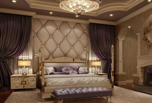 "Traditional Master Bedroom with Chandelier, Columns, Queen Street - Raina Tufted 15"" Round Decorative Pillow, Crown molding"