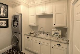 Traditional Laundry Room with Crown molding, Laminate floors, Built-in bookshelf, Pental Times in White, Undermount sink