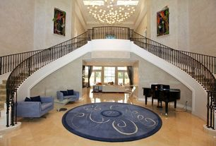 Modern Staircase with High ceiling, Concrete tile , French doors