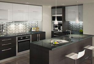 Contemporary Kitchen with European Cabinets, Pendant light, Hardwood floors, Undermount sink, Breakfast bar, Flush, U-shaped