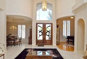 Eclectic Entryway with High ceiling, Glass panel door, Chandelier, Winter Gold Manhattan Light