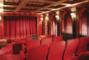 Traditional Home Theater with Carpet, Crown molding, Wall sconce, Box ceiling, Theater curtains