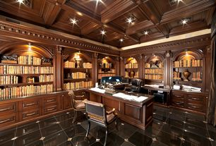 Traditional Home Office with Crown molding, complex marble tile floors, Riverside Bristol Court Executive Desk, Box ceiling