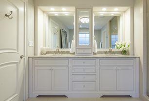 Traditional Master Bathroom with Legion Furniture Double Sink Bathroom Vanity, flush light, frameless showerdoor, Double sink