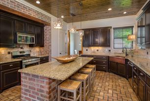 Rustic Kitchen with Limestone Tile, High ceiling, Kitchen island, Pendant light, Stone Tile, Complex granite counters