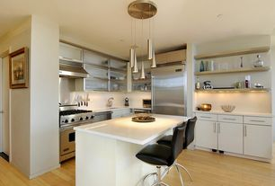 Modern Kitchen with Slim Cone Brushed Nickel Multi Light Pendant, Corian counters, flush light, Wine refrigerator, Flush
