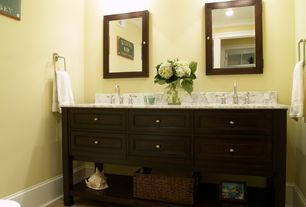 Traditional Powder Room with Powder room, Complex marble counters, Chatham Wall Mirror, Flat panel cabinets, Inset cabinets