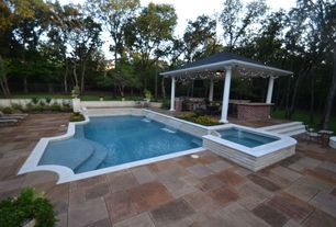 Traditional Swimming Pool with Outdoor kitchen, Pool with hot tub, Fence, Gazebo