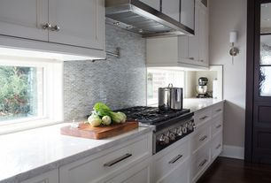 Contemporary Kitchen with Wall Hood, One-wall, can lights, Casement, Complex marble counters, full backsplash, Penny Tile