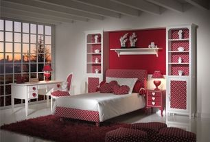 Contemporary Kids Bedroom with Exposed beam, no bedroom feature, Built-in bookshelf, Standard height, picture window