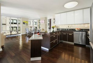 Modern Kitchen with Flush, L-shaped, partial backsplash, Freestanding Full Size Top Freezer Refrigerator, Hardwood floors