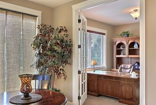 Traditional Home Office with French doors, flush light, Carpet, Casement, Standard height