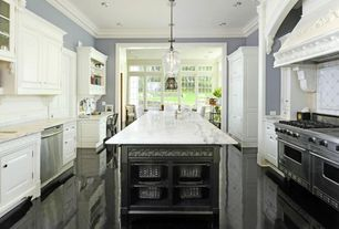Traditional Kitchen with Pendant light, Raised panel, Large Ceramic Tile, Crown molding, Carrara white marble countertop