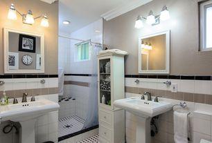 Traditional Full Bathroom with Daltile Matte White With 21 Black Gloss Dot Mosaic Tile, Flush, penny tile floors, Glass panel