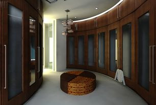 Contemporary Closet with Built-in bookshelf, Carpet, Standard height, Chandelier, can lights