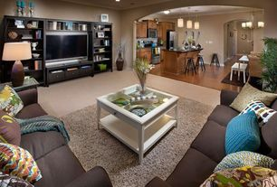 Contemporary Living Room with Crown molding, Klaussner Beckham Sofa and Loveseat in Attire Hardwood, Carpet