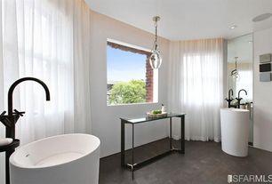 Contemporary Master Bathroom with Master bathroom, Pedestal sink, slate tile floors, Pendant light