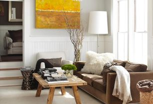 """Traditional Living Room with Chandelier, Crate and barrel magnum floor lamp, Brentwood mongolian faux fur pillow cream 18"""""""
