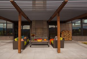 Contemporary Patio with Trellis, exterior tile floors, Exterior structural support beams