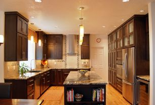 Modern Kitchen with Complex granite counters, Glass panel, Wall sconce, U-shaped, Large Ceramic Tile, Pendant light