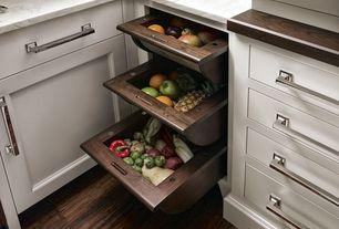 Contemporary Kitchen with Walnut Veggie Drawer by Quality Custom Cabinetry, Carrara marble countertop