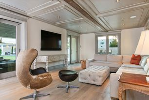 Contemporary Living Room with Box ceiling, Hardwood floors, Exposed beam