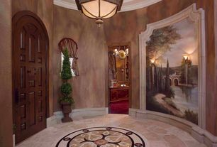 Traditional Entryway with sandstone floors, Crown molding, Mural, Uttermost preserved boxwood, two sphere topiary botanical