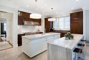 Contemporary Kitchen with Soapstone counters, Dvi geometry 3 light drum pendant, Soapstone, Kitchen island, U-shaped