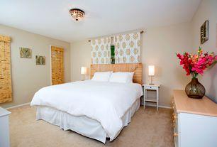 Asian Guest Bedroom with Carpet, flush light, Standard height, Paint