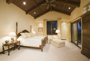 Contemporary Master Bedroom with Ceiling fan, High ceiling, Casement, can lights, Built-in bookshelf, Carpet, Exposed beam