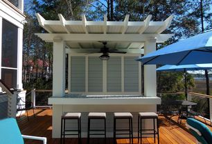 Traditional Deck with Custom pergola - kitchen/bar, Weather treated cedar decking, Outdoor ceiling fan light fixture