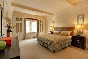 Contemporary Master Bedroom with Window seat, Carpet, Standard height, Built-in bookshelf, double-hung window, Crown molding