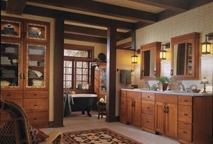 Craftsman Master Bathroom with Bathtub, Exposed beam, Master bathroom, Casement, Flat panel cabinets, Wall Tiles, Flush