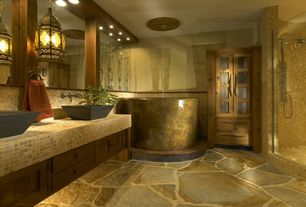 Eclectic Master Bathroom with Double sink, Handheld showerhead, Limestone Tile, Arizona Tile, RIVER WHITE, Granite
