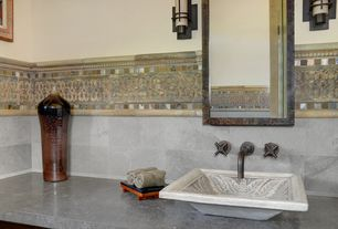 Eclectic Powder Room with Powder room, partial backsplash, Slate counters, Standard height, Vessel sink, Wall sconce