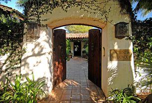 Mediterranean Front Door with Fence, exterior tile floors, exterior terracotta tile floors, Gate, Pathway, French doors