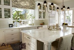 Traditional Kitchen with Hardwood floors, Pental subway tile, ivory, 3x6, French doors, Paint, Chandelier, picture window