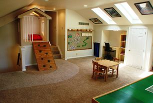 Traditional Playroom with can lights, High ceiling, Art desk, Carpet floor, Built-in bookshelf, six panel door, Skylight