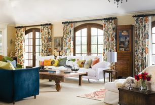 Traditional Living Room with Wall sconce, High ceiling, Croscill MardiGras Window Treatment Collection, Chandelier, Carpet